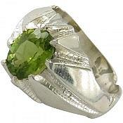 انگشتر نقره زبرجد دور چنگ و خوش رنگ مردانه