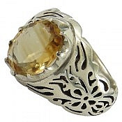 انگشتر نقره سیترین خوش رنگ و سلطنتی مردانه