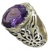 انگشتر نقره آمتیست ناب و خوش رنگ مردانه