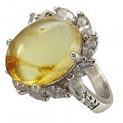 انگشتر نقره کهربا زیبا زنانه
