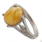 انگشتر نقره کهربا ظریف و زیبا زنانه