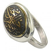 انگشتر نقره حدید صینی حکاکی یا امام حسن مجتبی طرح صفوی زنانه