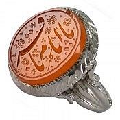 انگشتر نقره عقیق یمن حکاکی یا امام باقر مردانه