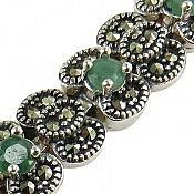 دستبند نقره زمرد خوش رنگ طرح شهربانو ارزشمند زنانه