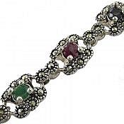 دستبند نقره یاقوت و زمرد پرنسسی زنانه