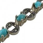 دستبند نقره فیروزه نیشابوری زیبا طرح شیدا مرغوب زنانه