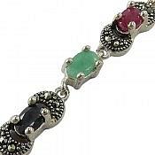 دستبند نقره زمرد و یاقوت طرح پرنسسی و خوش رنگ زنانه