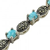 دستبند نقره فیروزه نیشابوری مرغوب زنانه