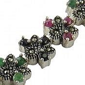 دستبند نقره یاقوت و زمرد طرح شهربانو ارزشمند زنانه