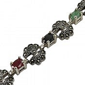 دستبند نقره زمرد و یاقوت طرح مهربانو فاخر زنانه