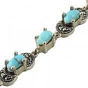 دستبند نقره فیروزه نیشابوری طرح نگار ارزشمند زنانه