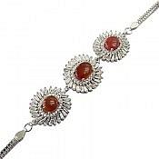 دستبند نقره عقیق پرنسسی زنانه