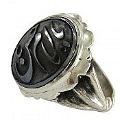 انگشتر نقره حدید صینی حکاکی یا امام حسن ع مردانه