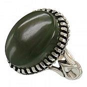 انگشتر نقره یشم یمن خوش رنگ و درشت مردانه