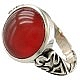 انگشتر نقره عقیق یمن قرمز خوش رنگ و درشت مردانه