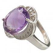 انگشتر نقره آمتیست خوش رنگ طرح ماهک زنانه