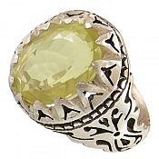 انگشتر نقره کوارتز لیمویی طرح شاهانه مردانه