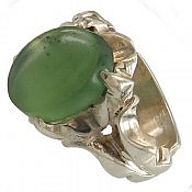 انگشتر نقره یشم هندی درشت و خوش رنگ مردانه