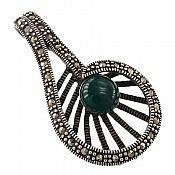مدال نقره عقیق سبز طرح مهربانو