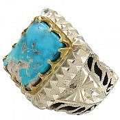 انگشتر نقره فیروزه نیشابوری درشت و خوش رنگ مردانه دست ساز