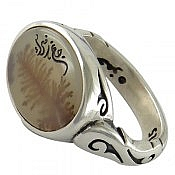 انگشتر نقره عقیق شجر طبیعی طرح صفوی مردانه