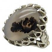 انگشتر نقره عقیق شجر طبیعی قائن طرح دور اشکی مردانه