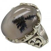 انگشتر نقره عقیق شجر طبیعی قائن