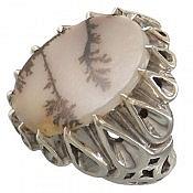 انگشتر نقره عقیق شجر طبیعی هندی طرح درخت مردانه