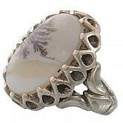 انگشتر نقره عقیق شجر طبیعی هندی طرح جنگل مردانه