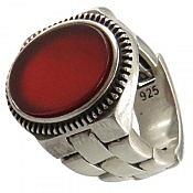 انگشتر نقره عقیق قرمز طرح رولکسی مردانه