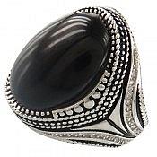انگشتر نقره عقیق سیاه و ارزشمند مردانه