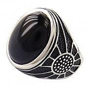 انگشتر نقره عقیق سیاه درشت و فاخر مردانه