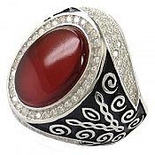 انگشتر نقره عقیق قرمز و اشرافی مردانه