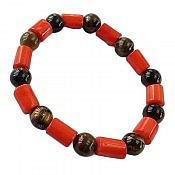 دستبند چشم ببر و مرجان خوش رنگ زنانه