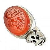 انگشتر نقره عقیق یمن طرح صفوی حکاکی یا رسول الله مردانه دست ساز