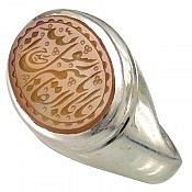 انگشتر نقره عقیق یمن طرح صفوی حکاکی یا ابالقاسم یا رسول الله مردانه