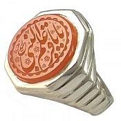 انگشتر نقره عقیق یمن حکاکی یا باقر علم النبی مردانه