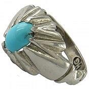 انگشتر نقره فیروزه نیشابوری دو رچنگ مردانه