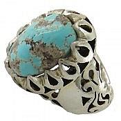 انگشتر نقره فیروزه نیشابوری دور اشکی مردانه