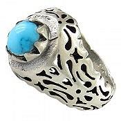 انگشتر نقره فیروزه نیشابوری خوش نقش مردانه