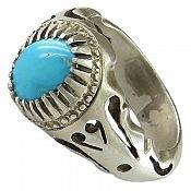 انگشتر نقره فیروزه نیشابوری ارزشمند و خوش طبع مردانه