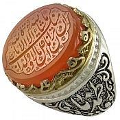 انگشتر نقره عقیق حکاکی مذهبی رکاب یا علی یا فاطمه مردانه