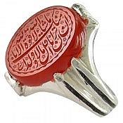 انگشتر نقره عقیق یمن حکاکی مذهبی مردانه
