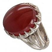 انگشتر نقره عقیق یمن قرمز و شاهانه مردانه