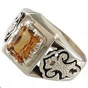 انگشتر نقره سیترین و برلیان اصل شاهانه مردانه