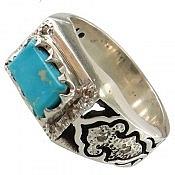 انگشتر نقره فیروزه نیشابوری و برلیان اصل طرح صفوی شاهانه مردانه