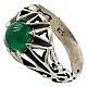 انگشتر نقره عقیق سبز دور چنگ مردانه