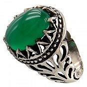 انگشتر نقره عقیق سبز شاهانه مردانه