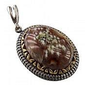 مدال نقره عقیق خزه ای خوش نقش فاخر