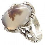 انگشتر نقره عقیق شجر طبیعی دور چنگ مردانه